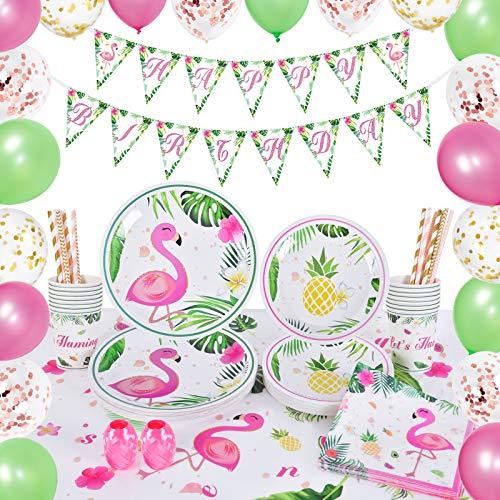 WERNNSAI Flamingo Party Zubehör Set - 105 PCS Tropische Luau...
