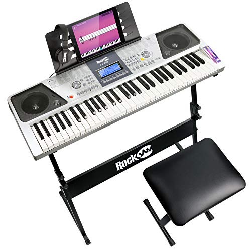 RockJam 61 Tasten Keyboard Klavierset mit Digitalklavierbank,...