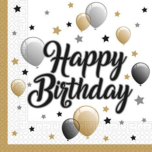 Procos 88863 - Servietten Milestone Happy Birthday, 20 Stück, Größe...