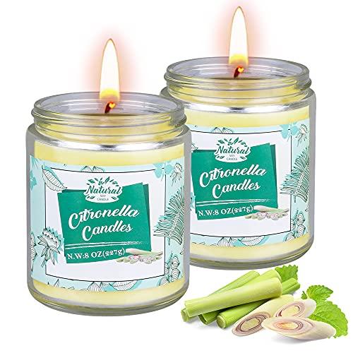 Citronella Kerze Outdoor, 2 Stück Dufted Kerzen im Glas mit Deckel,...