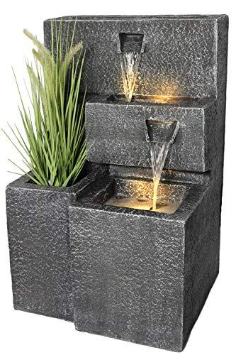 Arnusa Springbrunnen Grada Bepflanzbar mit LED Beleuchtung, Wasserfall...