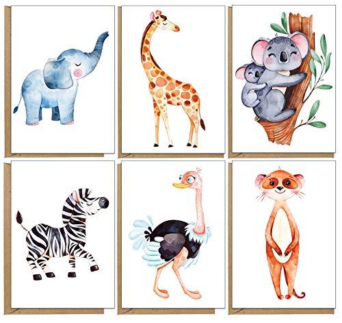 Grußkarten mit Tiermotiven, umweltfreundlich, unbedruckt, 48...