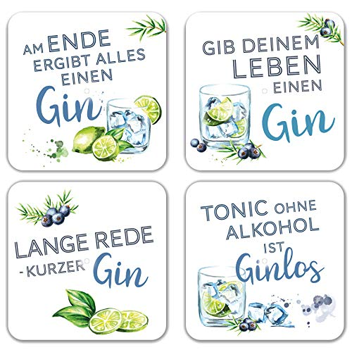 Interluxe LED Untersetzer 4er Set mit GRATIS BATTERIEN - Gin Tonic -...