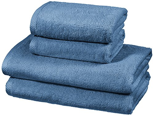 Amazon Basics - Handtuch-Set, schnelltrocknend, 2 Badetücher und 2...