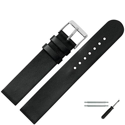 MARBURGER Uhrenarmband 18mm Leder Schwarz - Werkzeug Montage Set...