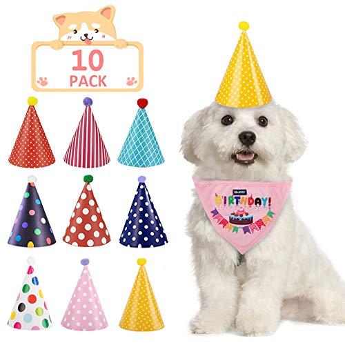 TOGETOP Hundehüte für Haustiere, Geburtstag, Halstuch-Set, Schal,...