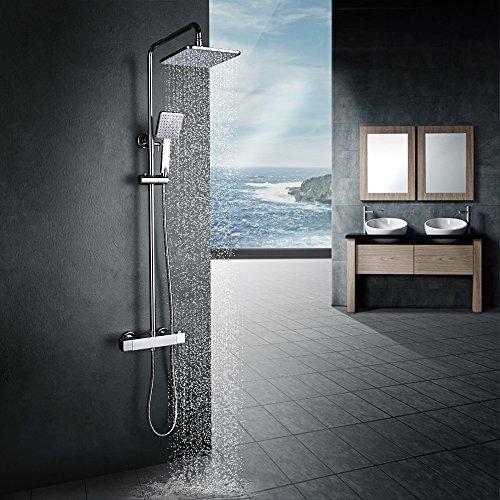 Homelody Duschsystem mit Thermostat Regendusche Duschset Duschsäule...