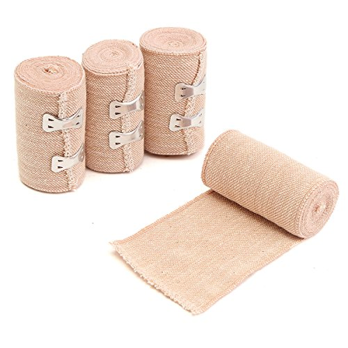 ChaRLes 4 Rolls 15Ft Crepe Bandage Hook Closure Rubber Elastic Bandage...