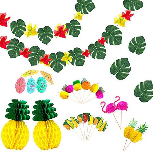 Ucradle 99PCS Hawaii Tropical Party Dekoration Kit, Tropische...