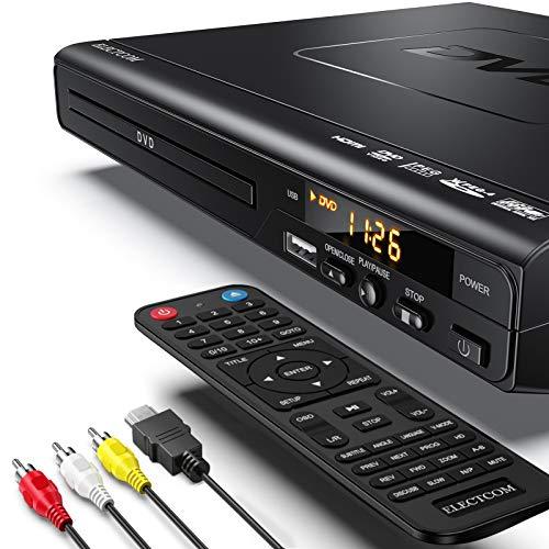 DVD Player, ELECTCOM HD DVD Player, CD Player (1080p Upscaling, HDMI...