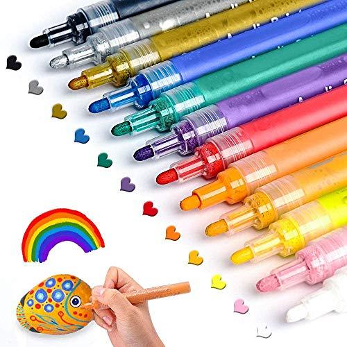 Acrylstifte für Steine Bemalen Set ANYUKE 12 Acrylfarben Stifte zum...