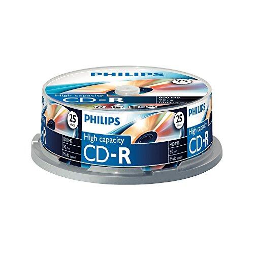 Philips CD-R Rohlinge (800 MB Data/ 90 Minuten, Multi Speed Aufnahme,...