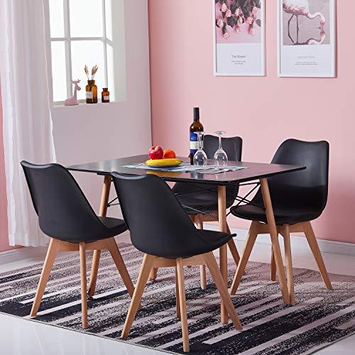 H.J WeDoo Tisch und Stühle Set, Essgruppe Schwarz Tisch mit 4 Schwarz...