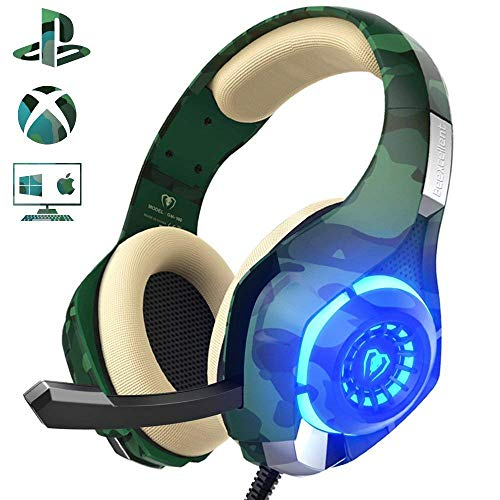 Beexcellent Gaming Headset für PS4 PC Xbox One, LED Licht Crystal...