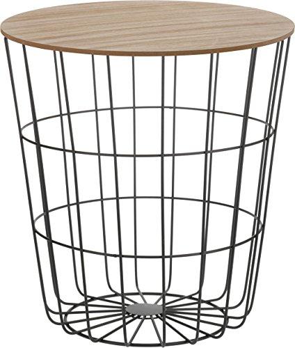 Design Beistelltisch - Metall Korb mit Holz Deckel - dekorativer...