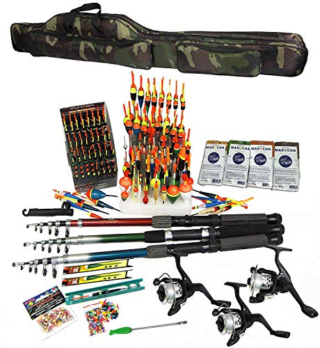 TMD-Line Angelset 341-tlg Angeltasche 130cm, 3X Rute 2,40m, 3X Rolle...