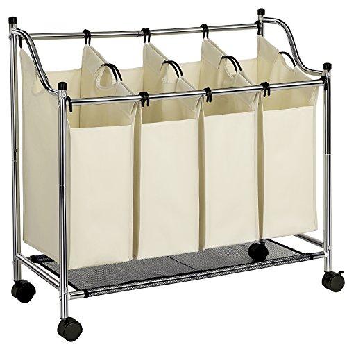 SONGMICS Wäschekorb, Wäschesammler mit 4 abnehmbaren Stofftaschen,...
