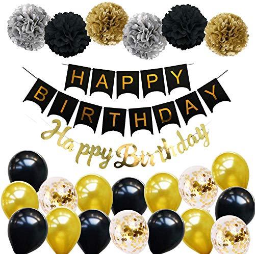Ohighing Happy Birthday Schwarz Geburtstag Party Deko Set 1 Girlande 6...