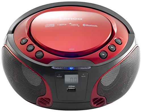 Lenco Boombox SCD-550 Red Tragbarer Cd-Player mit Discolichteffekt, FM...