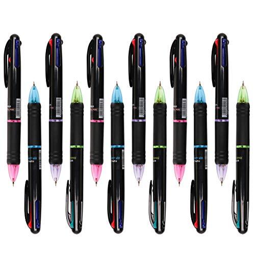 12 Stücke Kugelschreiber Mehrfarbig 4 in 1 Retractable Kugelschreiber...