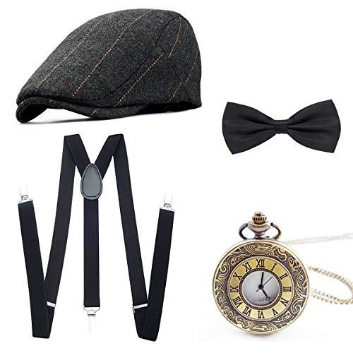 Wagoog 1920s Herren Accessoires Mafia Gatsby Kostüm Set Inklusive...