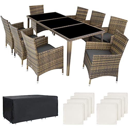 TecTake 800104 Aluminium Poly Rattan Essgruppe, 8 Stühle + 1 Esstisch...