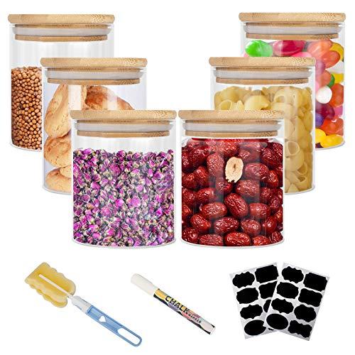 Vorratsdosen Glas, Aufbewahrungsbox Küche Glas 6er Set, Glasbehälter...