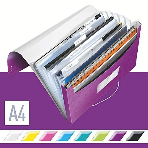 Leitz 45890062 Fächermappe WOW, A4, 6 Fächer, PP, violett