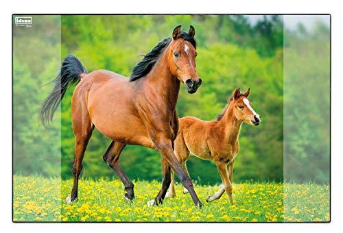 Idena 10454 - Schreibtischunterlage mit zwei Einstecktaschen, Pferd,...