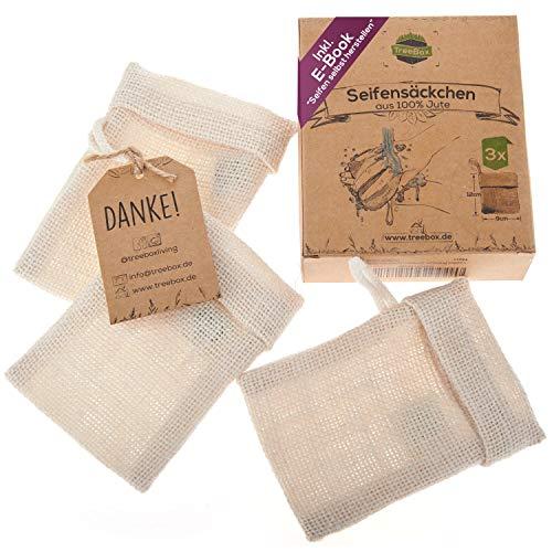 TreeBox Zero Waste Seifensäckchen aus Jute mit Kordel aus Baumwolle -...