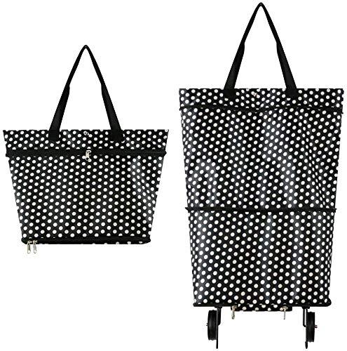 Faltbare Trolley-Taschen, Einkaufstrolley-Tasche mit 2 Rädern, 2-in-1...