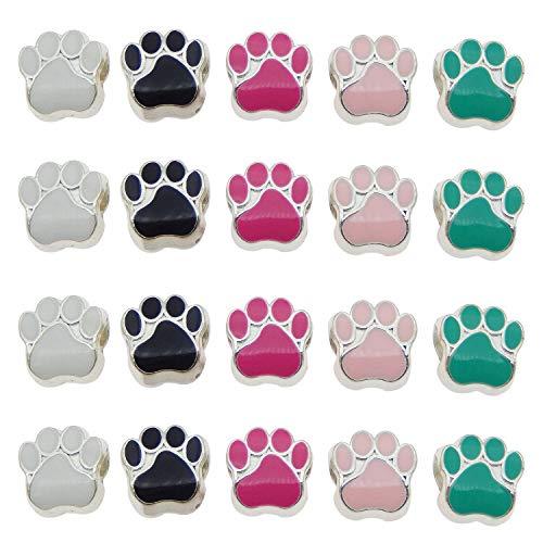 Julie Wang 100er Mixed Cat Dog Paw Footprint Perlen für European...