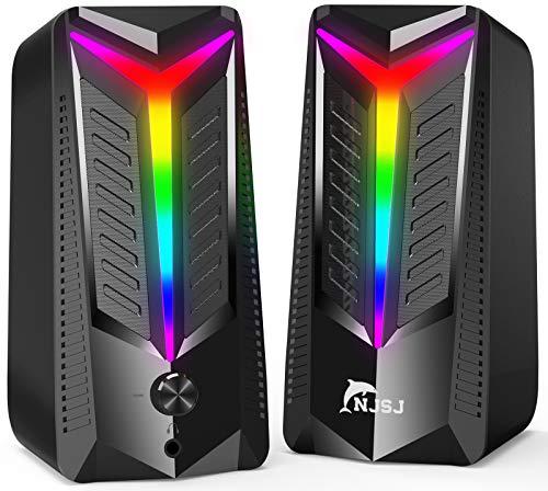 NJSJ PC Lautsprecher,10 W RGB Gaming Lautsprecher USB Stereo...