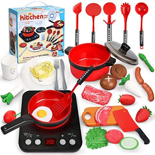 Sanlebi Küchenspielzeug, Kinderküche Zubehoer mit Töpfe, Pfannen...