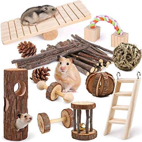 LOGEEYAR Hamster Kauspielzeug 12 Stück Natürliches Kiefernholz aus...