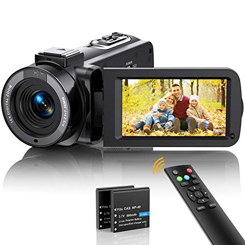Videokamera Camcorder FHD 1080p 36MP Vlogging Kamera für YouTube IR...