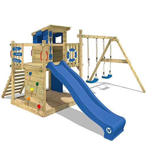 WICKEY Spielturm Klettergerüst Smart Camp mit Schaukel & blauer...