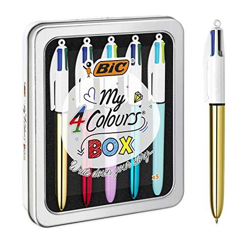 BIC Kugelschreiber 4 Colours, 5er Stifte Set in Metallbox mit 3...