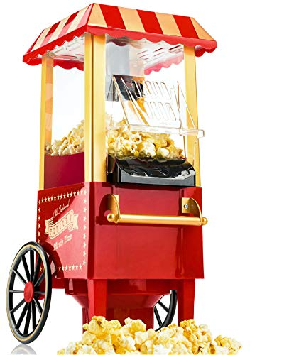 Gadgy Popcorn Maschine | Retro Popcorn Maker | Heissluft Ohne Fett...