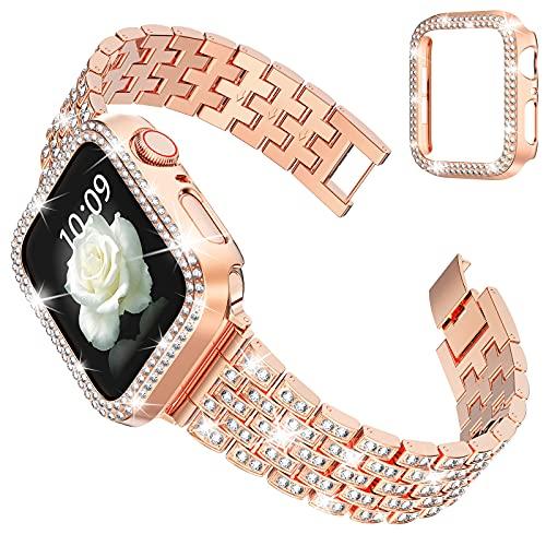 wlooo Glitzer Diamant Uhrenarmband mit Schutzhülle für Apple Watch...