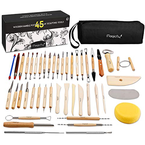 Magicfly Töpferwerkzeug, 45 Stück Modellierwerkzeug Clay Keramik...