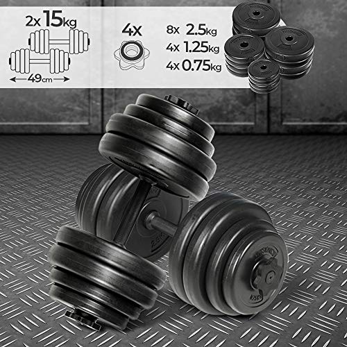 Physionics® Kurzhantel Set 30 kg (2 x 15 kg) - inkl. 16 Gewichte aus...