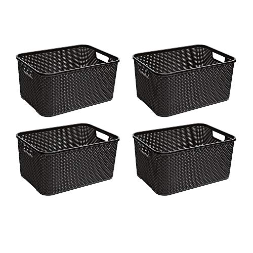 BranQ - Home essential Korb in Rattan Design 4er Set Grösse M 10l,...
