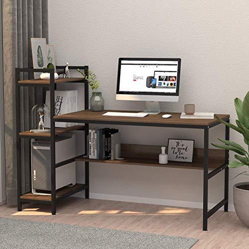 Dripex Holz Schreibtisch mit Ablage Computertisch, PC-Tisch Bürotisch...