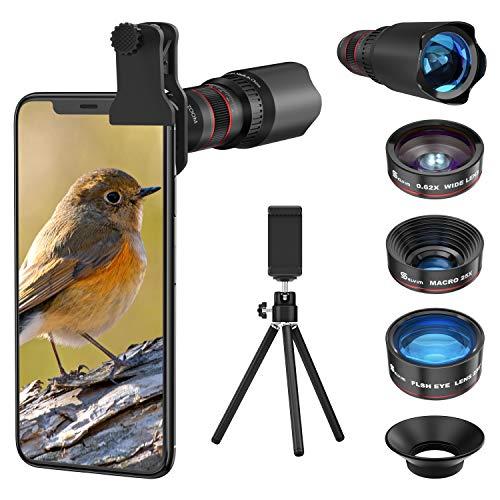 Handy Objektiv Linse Kit Lens Set 22X Teleobjektiv, 25X Makro...