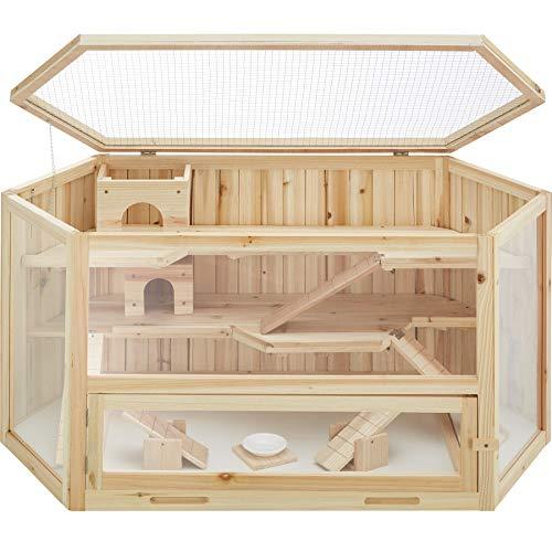 TecTake 403227 Hamsterkäfig aus Holz mit Zubehör, mehrere Etagen,...