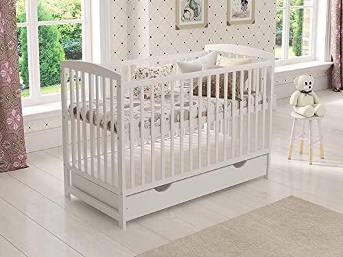 Babybett Gitterbett mit Schublade 120 x 60 cm + Schaumstoffmatratze +...