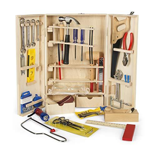 Leomark Deluxe Holz Werkzeug für Kinder - 50-TLG - Werkzeugkasten,...