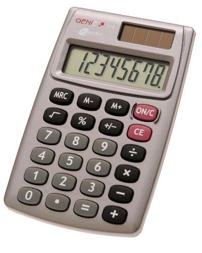 Genie 510 8-stelliger Taschenrechner (Dual-Power (Solar und Batterie),...