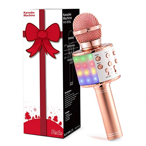 Fede Karaoke Mikrofon, Drahtloses Bluetooth Mikrofon für Kinder,...